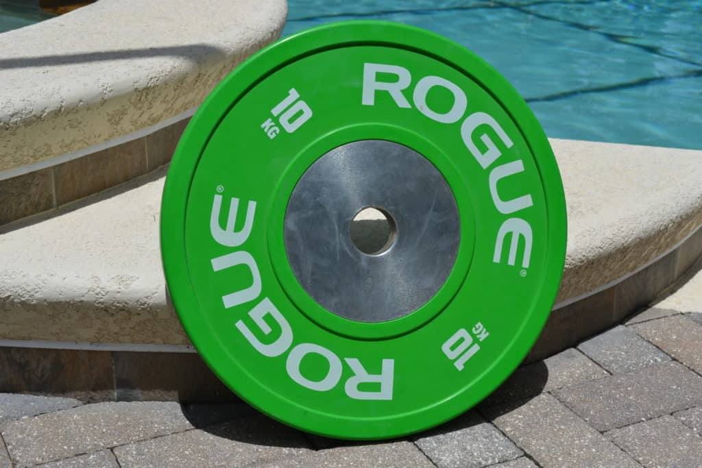 Rogue Fitness Bumper Plate - 10 Kg or about 22 lbs.  It has the same diameter as a 45 Lb olympic plate - and that makes this useful in a lot of situations.