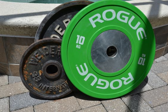 That 10 Kg bumper plate will be the perfect height for exercises that start from the floor.  The 10kg iron plate is not.