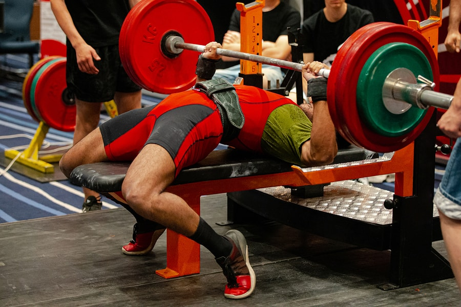 Bench press in a powerlifting competition