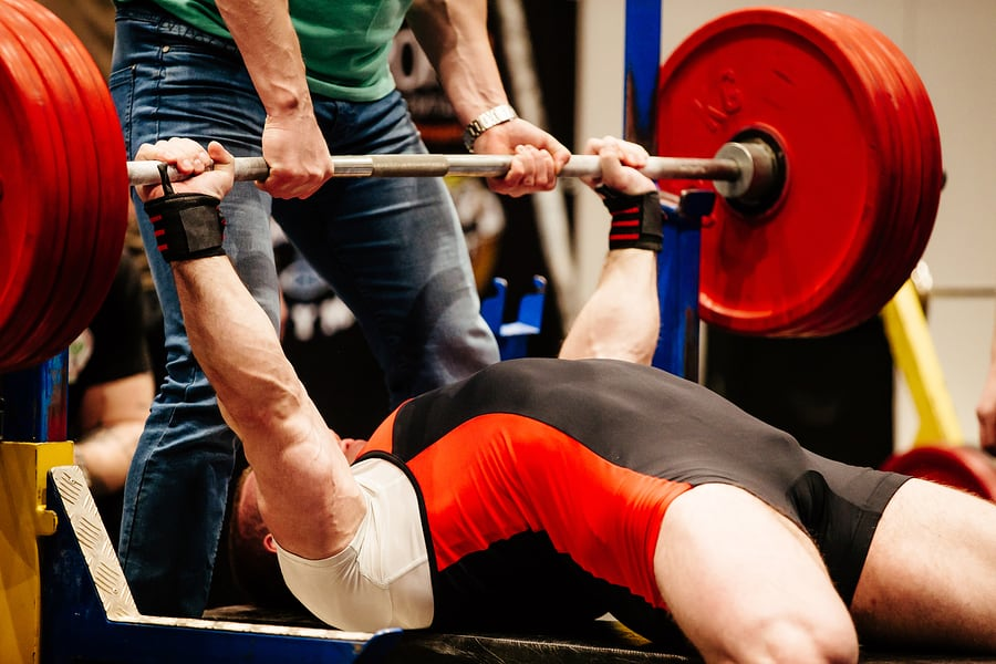 A heavy competition bench press