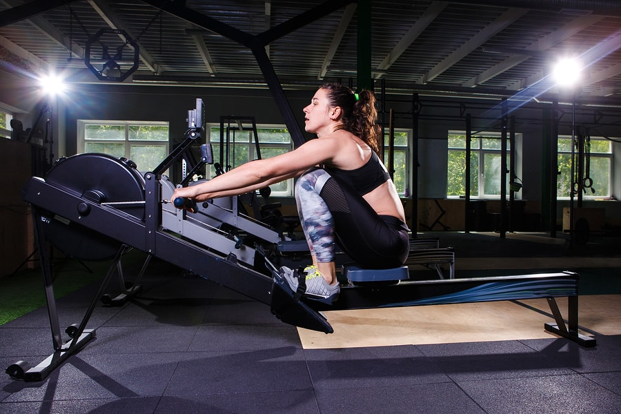 Concept 2 rower in use