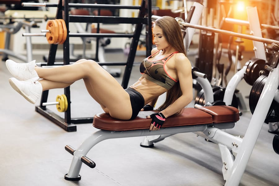 The same bench used for pressing can also be used for abdominal exercises.