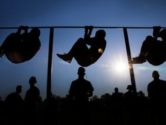 Soldiers doing Leg Tucks for strength of grip, arm, shoulder and trunk muscles.